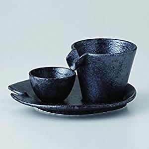 カネコ小兵製陶所 シズル冷酒器セット 銀黒