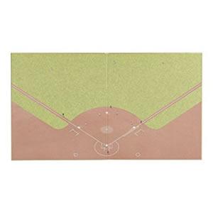 ミドリ カラー色紙 二つ折り 野球場柄