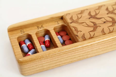 irds in Flight Laser Engraved Box, All Solid Cherry, Pill/Medication Box, Medium Depth, Vitamin Organizer